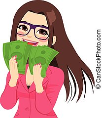 Enjoying Money Businesswoman - Young brunette businesswoman...