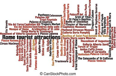 Rome tourist attractions word cloud concept. Vector...