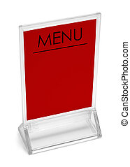 Red Table Top Menu - Table Top Upright Plastic Menu Sign...