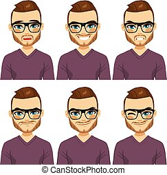 Hipster Man Different Expressions - Attractive brown haired...