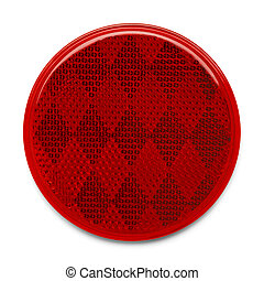 Reflector - Red Round Plastic Reflector Isolated on White...