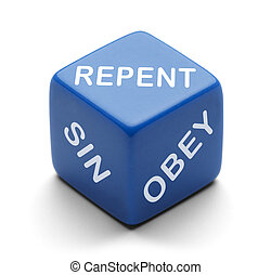 Repent Dice - Blue Dice with Repent Sin and Obey on it...