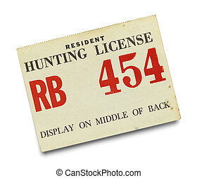 Resident Hunting License - Old Paper Hunting License...