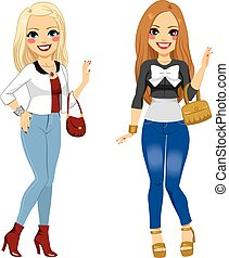 Fashionable Girl Friends - Two young beautiful fashionable...