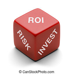 ROI Dice - Red Dice with Risk, Invest and ROI on it Isolated...