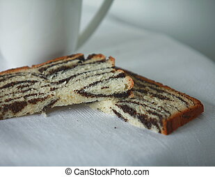 tea with poppy cake - breakfast with delicious poppy seed...