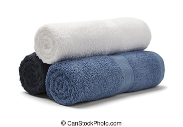 Rolled Towels - Three Rolled Towels Stacked Isolated on...
