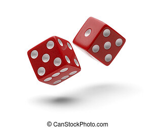 Rolling Dice - Red Dice in Air Rolling with Shawdows...