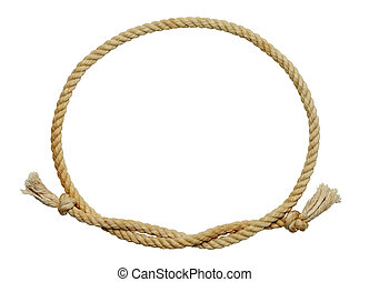 Rope Oval - Old Dirty Rope Oval Frame Isolated on White...