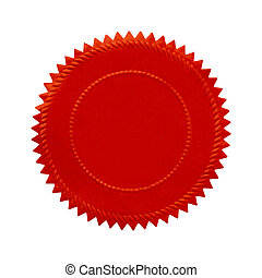 Round Red Seal - Round Oranate Red Seal With Copy Space...