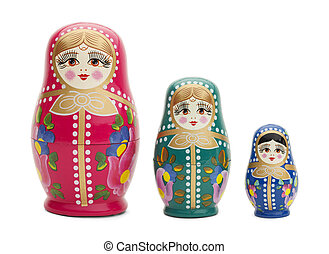 Russian Dolls - Three Traditional Russian Wood Dolls...