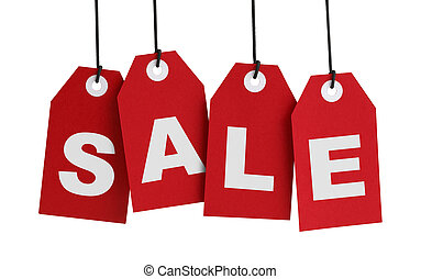 Sale - Four Large Red Tags with the Word Sale Isolated on...
