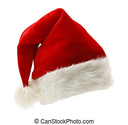 Santa Hat - Red and White Christmas Hat Isolated on White...