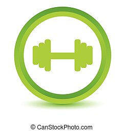 Green dumbbell icon on a white background Vector...