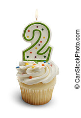 Second Birthday - Cupcake with a Number Two Candle Isolated...