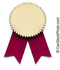 Second Place - Red and Gold Award Ribbon on isolated white.