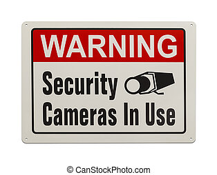 Security Camera Sign - Red, Black and White, Warning...