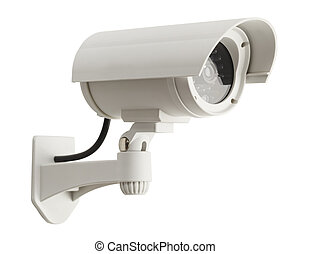 Security Camera - White Surveillance Camera Isolated on...