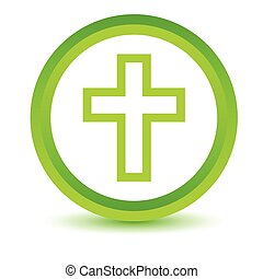 Green Protestant Cross icon on a white background Vector...
