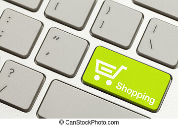 Shopping Key - Close Up of Green Shopping Key Button on...