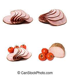 sliced smoked ham isolated on white background
