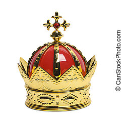 Small Kings Crown - Gold Kings Crown with Cross Isolated on...