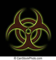 Biohazard - Illustration of a rusty biohazard symbol with...