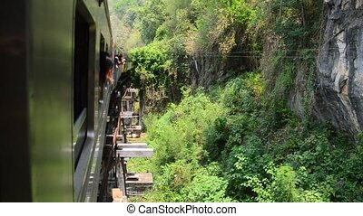 Thai Train on River Kwai Bridge - Thai Train on River Kwai...