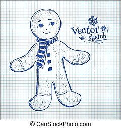 Gingerbread man. - Gingerbread man drawn on checkered paper.