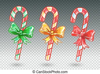 Watercolor set of candy canes. - Vector watercolor set of...