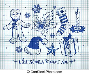 Christmas set. - Sketchy vector collection of Christmas...