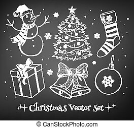 Christmas set. - Chalked vector collection of Christmas...