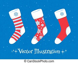 Christmas socks set. - Vector illustration of Christmas...