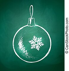 Christmas ball.  - Chalkboard drawing of Christmas ball.