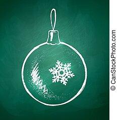 Christmas ball.  - Chalkboard drawing of Christmas ball.