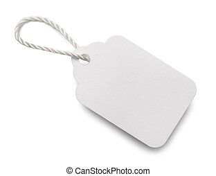 Small Tag - Blank White Price Tag Isolated on White...