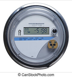 Smart Meter - Electric Meter Front View with Copy Space...