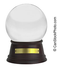 Snow Globe - Glass Snow Globe with Wood Base and Plate...
