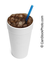 Soda Pop - Caffine Soda Drink With White Cup and Blue Straw...