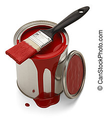 Spilled Paint Can - Red Paint Spilled with Brush Isolated on...