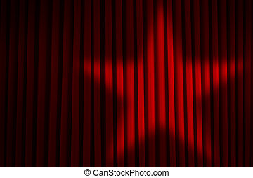 Star Spotlight Curtains - Red Theater Stage Curtains with...