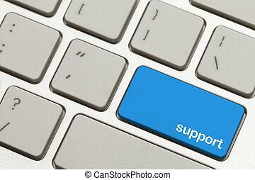 Support Key - Close Up of Blue Support Key Button on a...