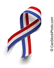 Red Whie and Blue Ribbon - USA Support Ribbon Isolated on...