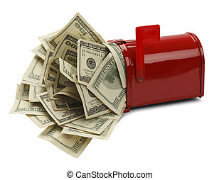Tax Refund - Red Mail Box with Money Pouring Out Isolated on...