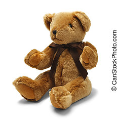 Teddy Bear - Brown Toy Teddy Bear with Ribbon Isolated on...