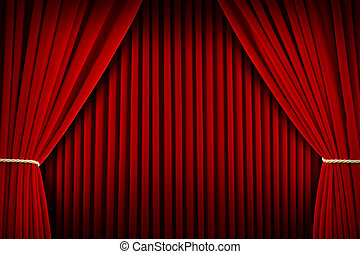 Theater Curtains - Red Velvet Theater Curtains Pulled open...