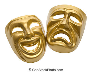Theater Masks - Gold Movie Masks Isolated on White...