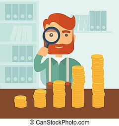 Growing business in financial aspects - A hipster Caucasian...