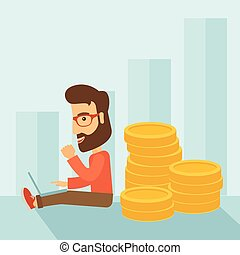 Businessman is sitting with pile of gold coins on his back....