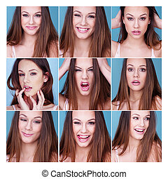 Set of nine different expressions on a pretty girl - Set of...